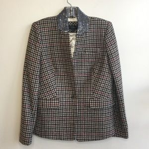 J.Crew Wool Houndstooth with Sparkly collar